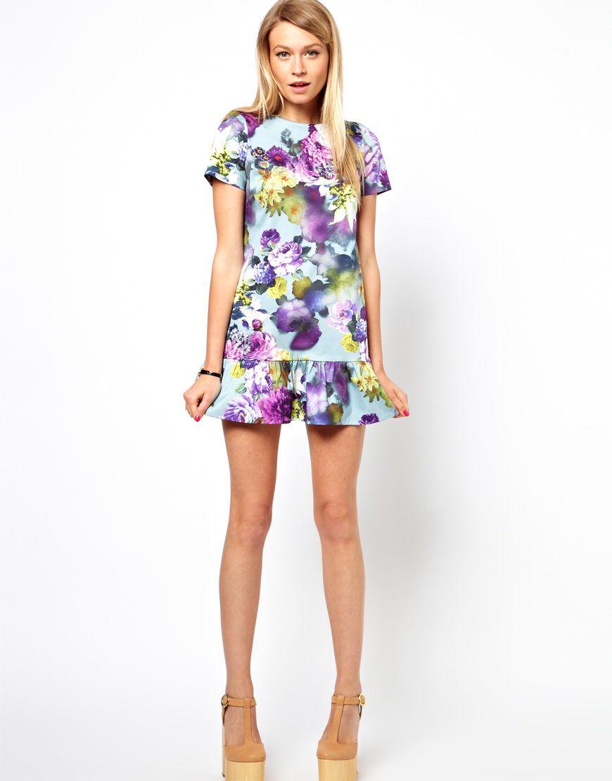 Asos floral mini dress with drop waist | Wear | Pinterest