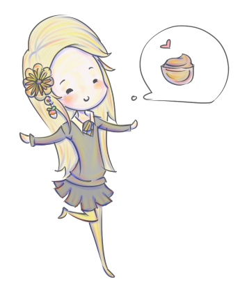 I love Luna to bits and pieces >u< She's wearing mustard colored tights and a freshly transfigured sunflower for luck. Gotta do what one can to boost your chances of getting pudding! Luna Lov...