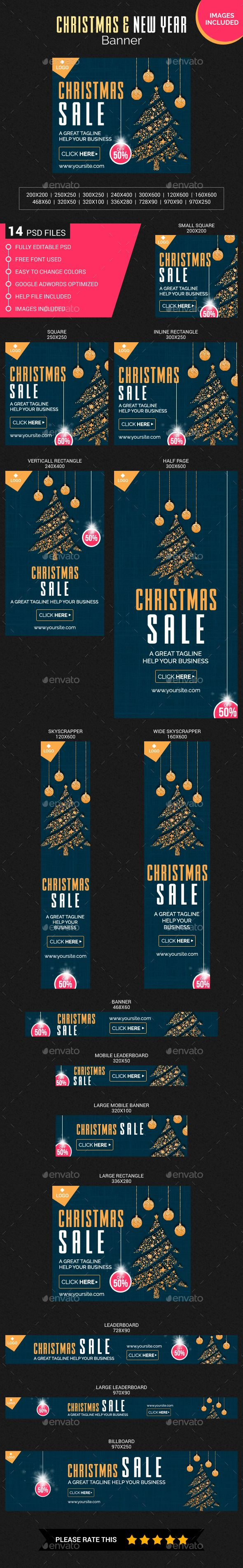 this is a christmas and new year web banners which is fully editable pack included 14 psd files 72 dpi rgb color mode images