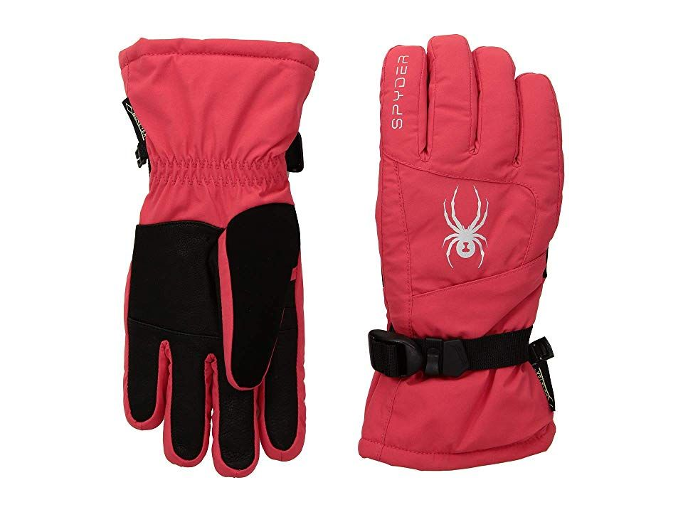 Spyder Synthesis Gore-Tex(r) Ski Gloves (Hibiscus/Hibiscus/Hibiscus) Ski Gloves. Keep those hands warm on the slopes in the Spyder GORE-TEX Synthesis Ski Glove! Pre-curved for an articulated fit. Waterproof and breathable GORE-TEX construction keeps hands dry. Adjustable wrist strap for snug fit. Zippered heater pack pocket. 78% polyester  17% leather  5% PU. Lining: 100% polyester. Sponge clean. Imported. #Spyder #Accessories #Gloves #Ski #Orange