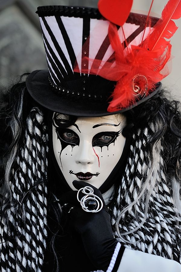 Black and White with a hint of Red carnivale Venice....