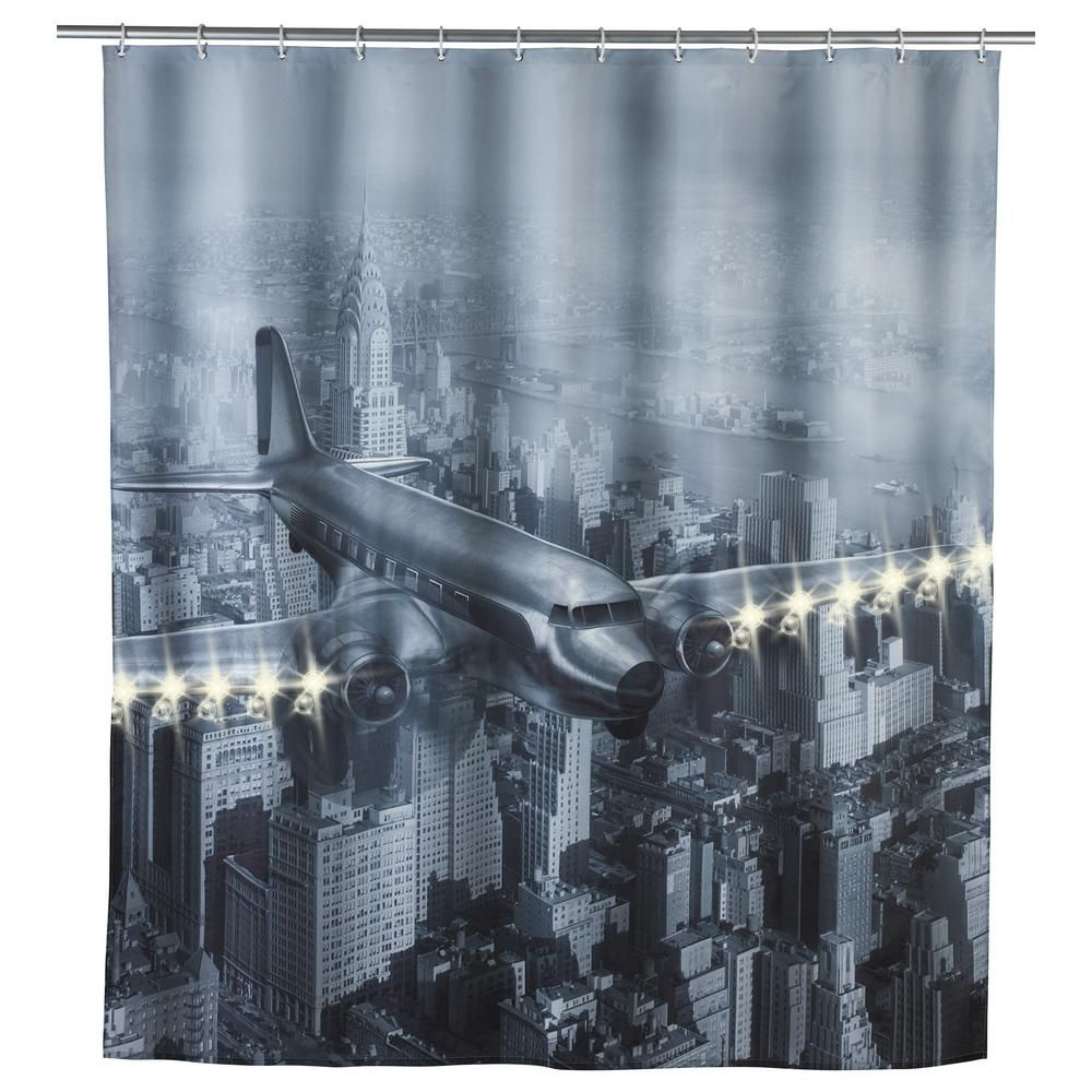 Wenko 79 In Led Shower Curtain Old Plane 22495218 Fabric Shower Curtains Curtains With Rings Old Planes