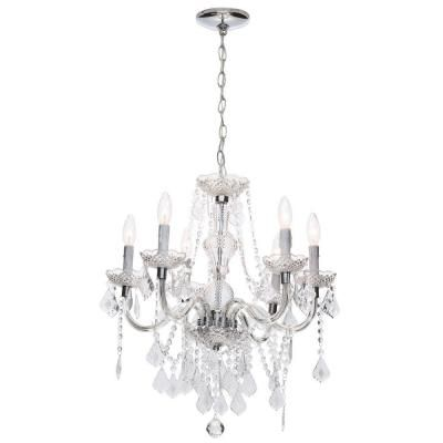 Hampton Bay Maria Theresa 6 Light Chrome And Clear Acrylic