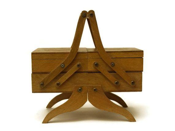 Wooden Sewing Box Accordion Sewing Kit Folding Jewelry