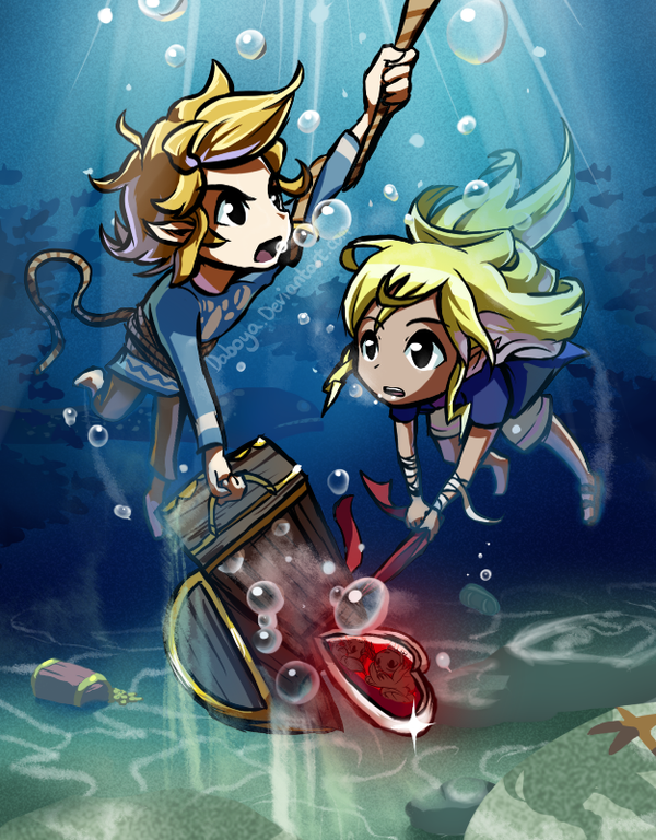 Cool!  This drawing reminds me of the end of The Wind Waker.  Only here, Link and Tetra are treasure hunting.  I like Tetra's hair in this one.