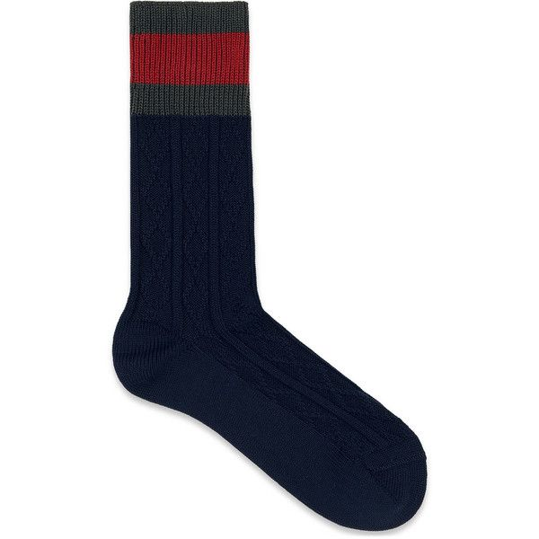 cd73d3e4bb Gucci Stretch Cotton Socks With Web ($95) ❤ liked on Polyvore ...