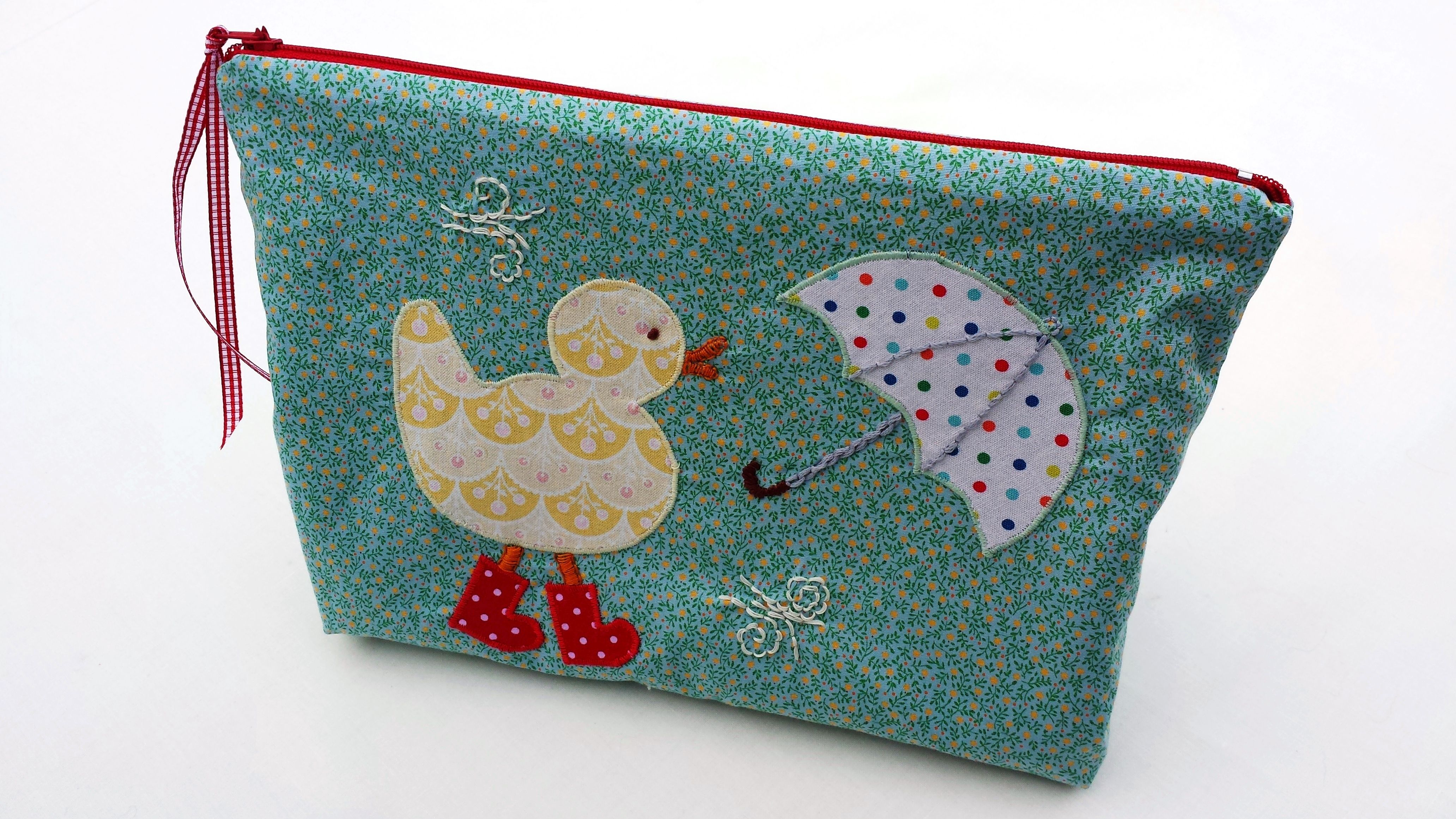 Mr duck in spotty red wellies make up bag applique design