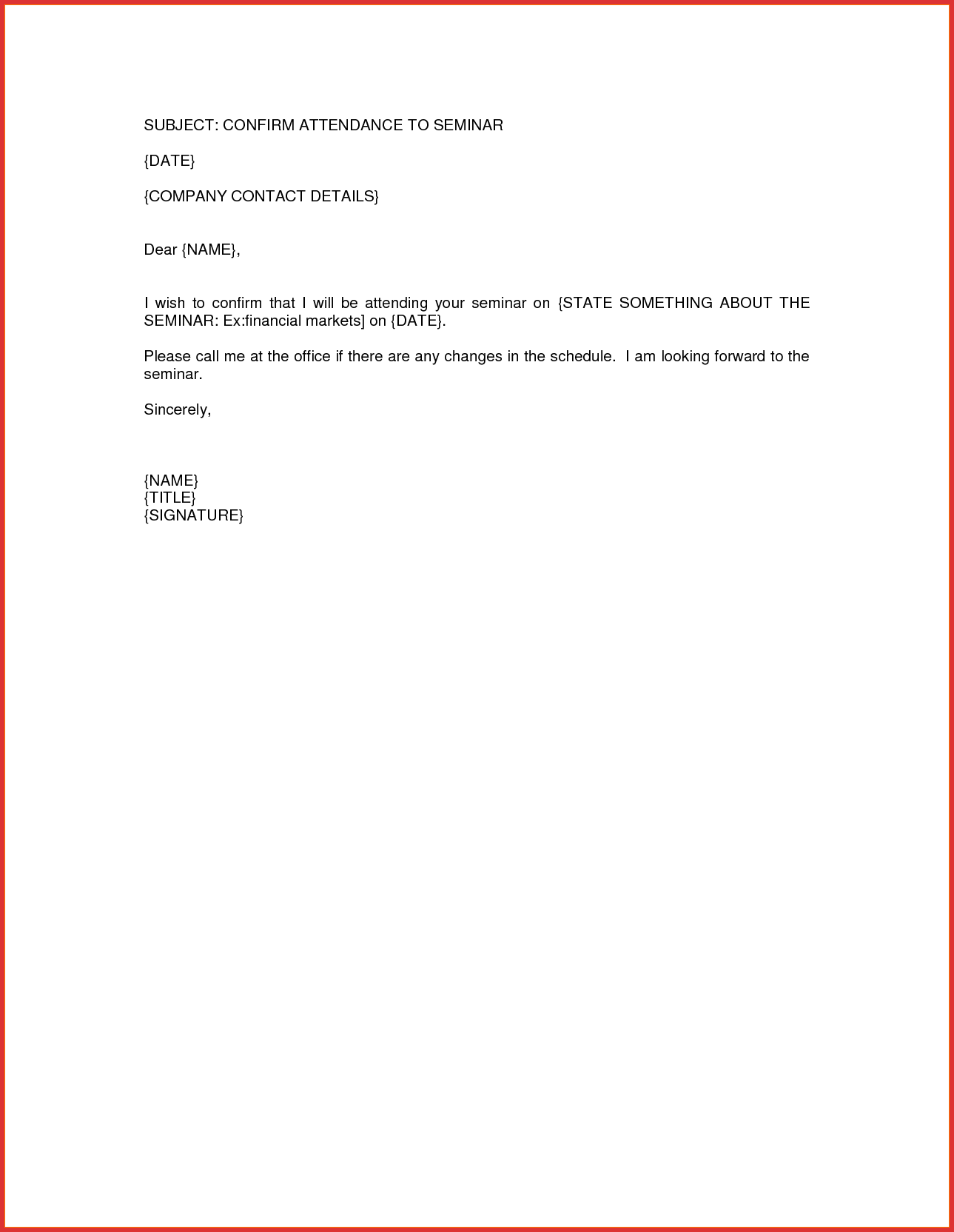 letter of attendance template