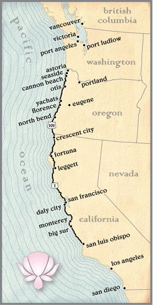 Bike The Pacific Coast Highway Map Of The Pacific Coast Route