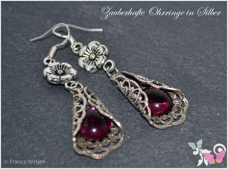 Ohrhänger - Vintage Ohrhänger 925 Silber violett Blüte Glas - ein Designerstück von Zauberhafte-Ohrringe-in-Silber bei DaWanda