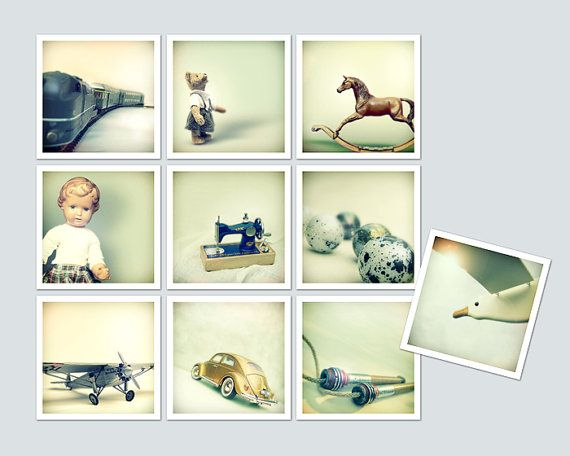 Vintage Toys Car Train Doll Teddy Horse Sewing by MollyHeyer.etsy.com, €42,00