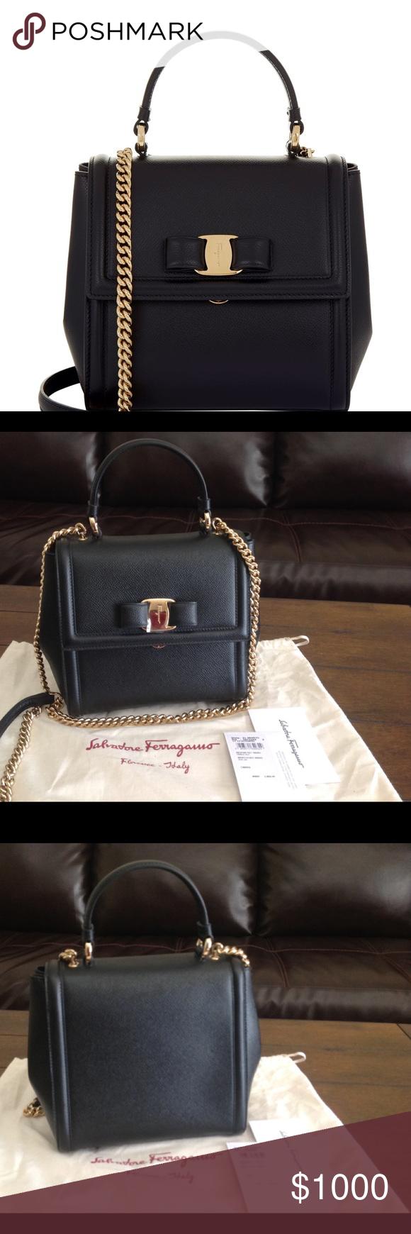 f474a7f43e Salvatore Ferragamo Carrie small bag Salvatore Ferragamo saffiano leather  satchel bag. Golden hardware. Flat