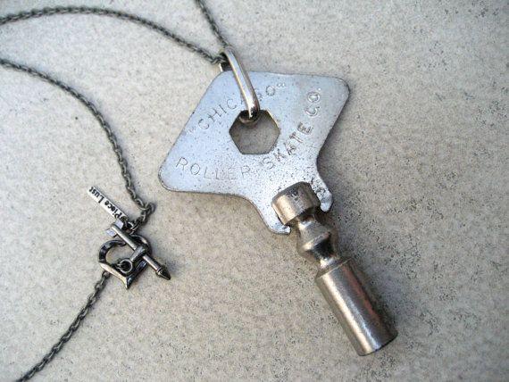 WANT!!! Chicago Skate Key Necklace - Vintage Rollerskate Key - Roller Derby Necklace