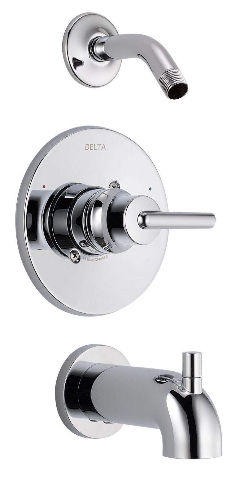 Delta Faucet T14459 Lhd Trinsic 14 Series Tub Shower Trim With Less Showerhead Chrome Shower Tub Tub And Shower Faucets Shower Faucet