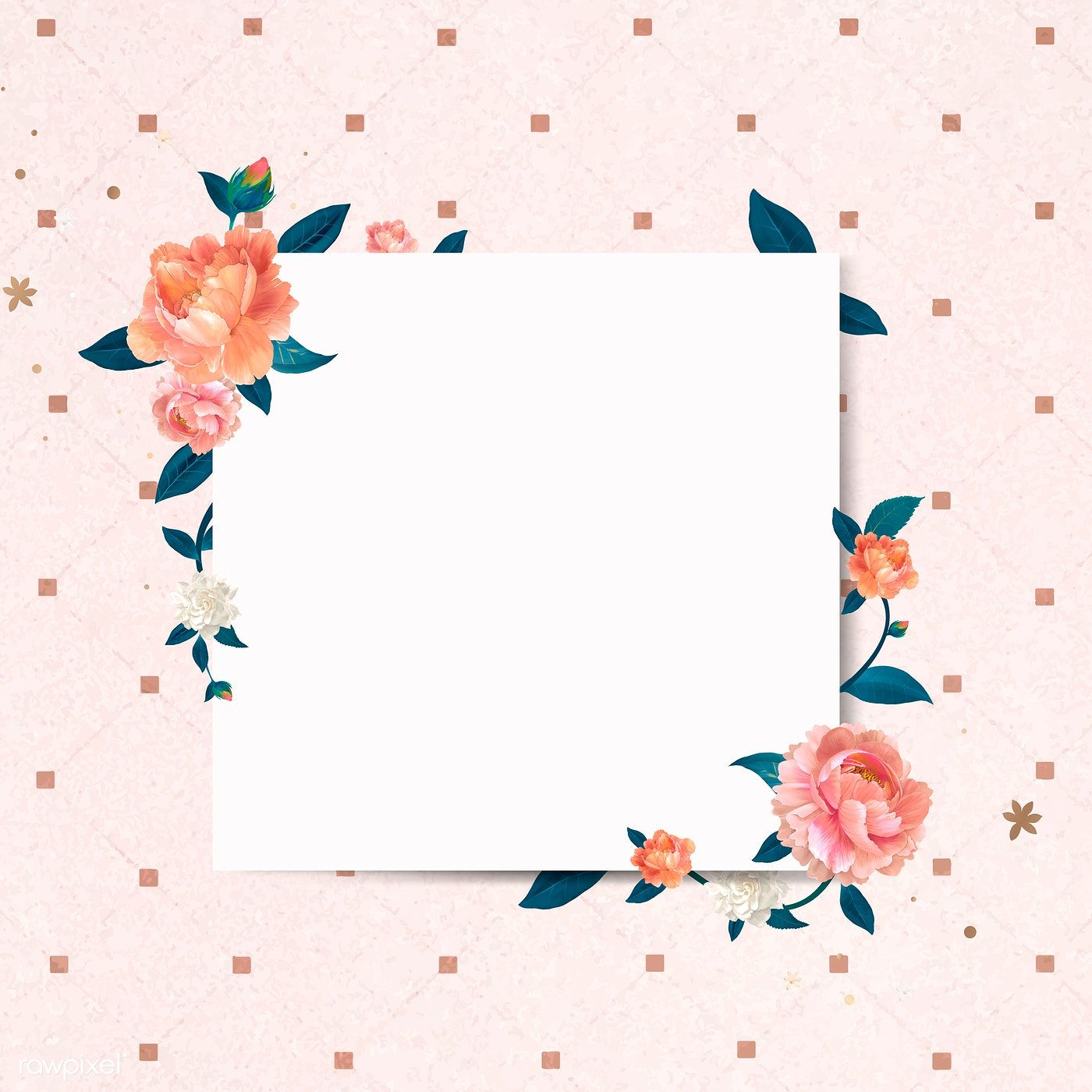 Download Premium Vector Of Blank Square Floral Frame Template Vector 679998 Frame Template Instagram Frame Template Flower Frame