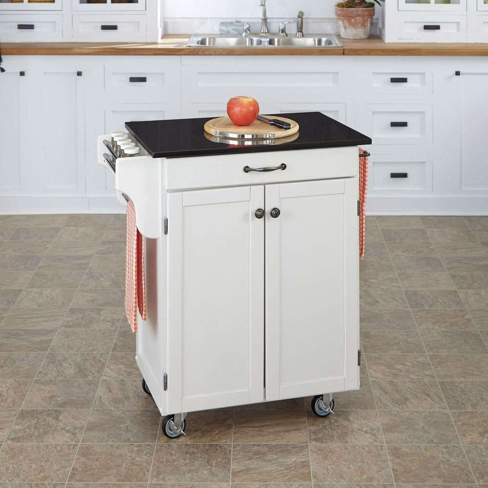 granite top kitchen cart cottage style furniture home styles create a white with black