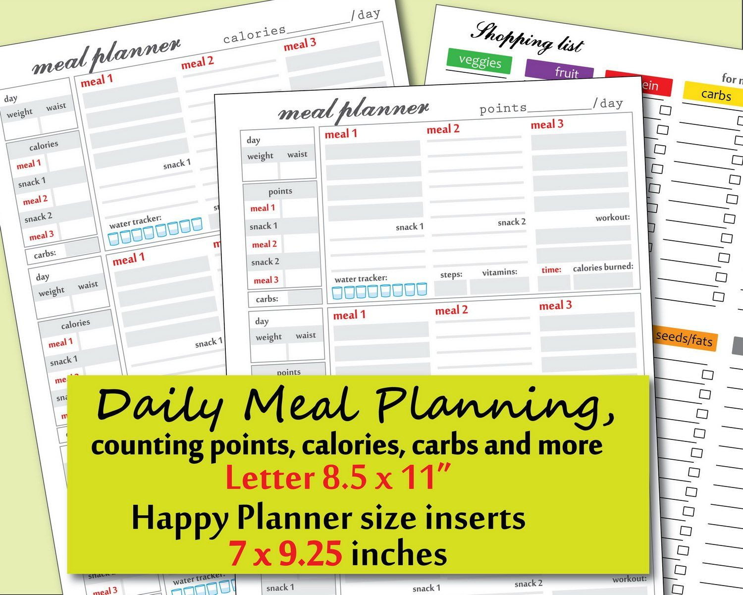 Pin On Weightwatchers Weight watchers meal planner template