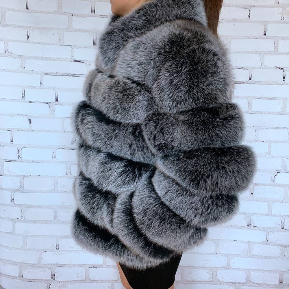 New Black Frost Color Real Fox Fur Coat For Women With Stand Collar Thick Warm Winter Genuine Fox Fur Jacket High Quality Fur Coat Fox Fur Jacket Fox Fur Coat [ 1000 x 1000 Pixel ]
