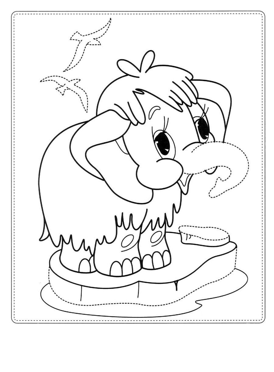 Рисунок мамонтенок из мультика