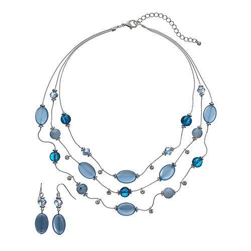 Croft & Barrow® Bead Multistrand Necklace & Drop Earring Set