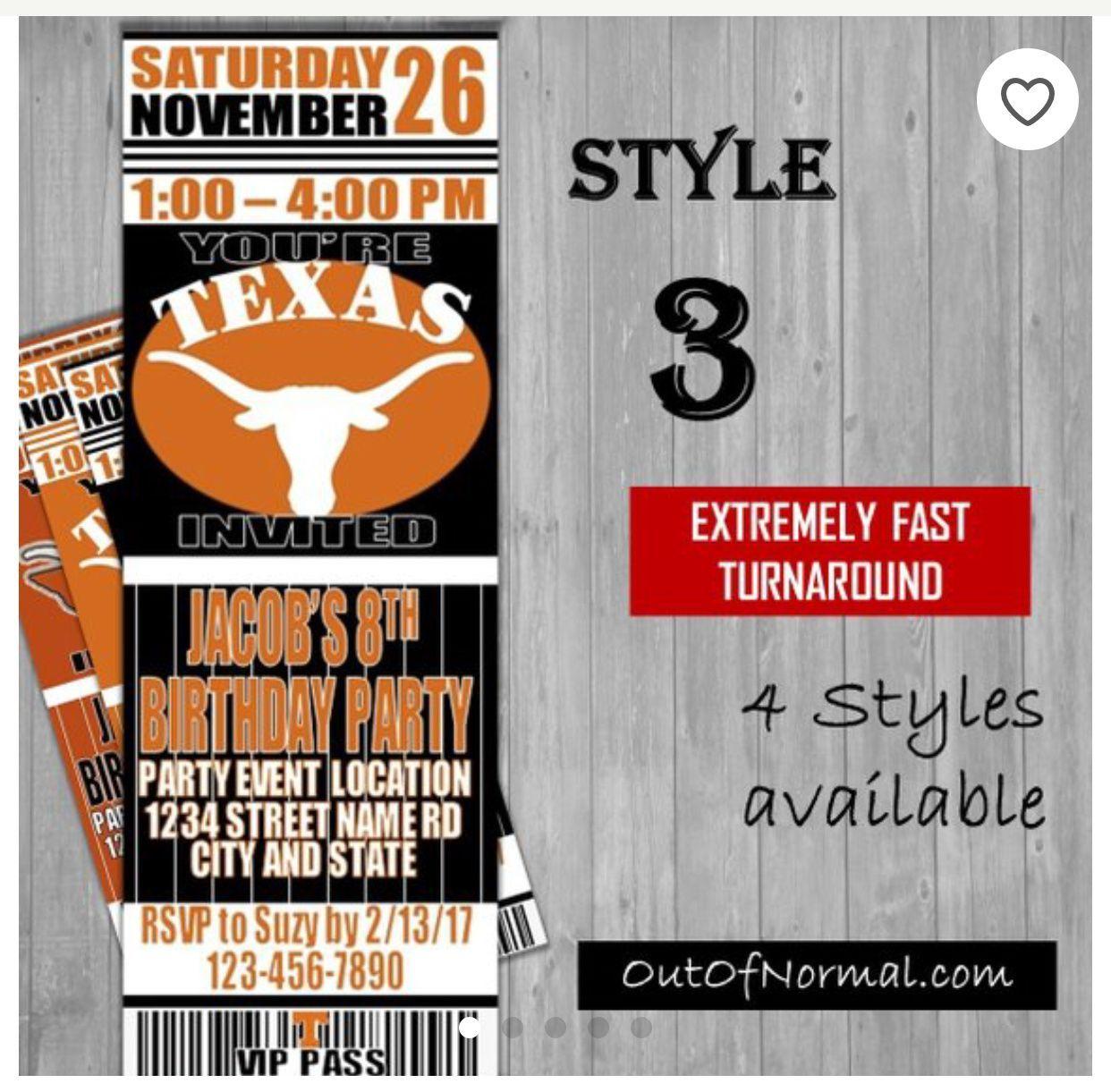 Texas Longhorns HookEmHorns invitations College Football