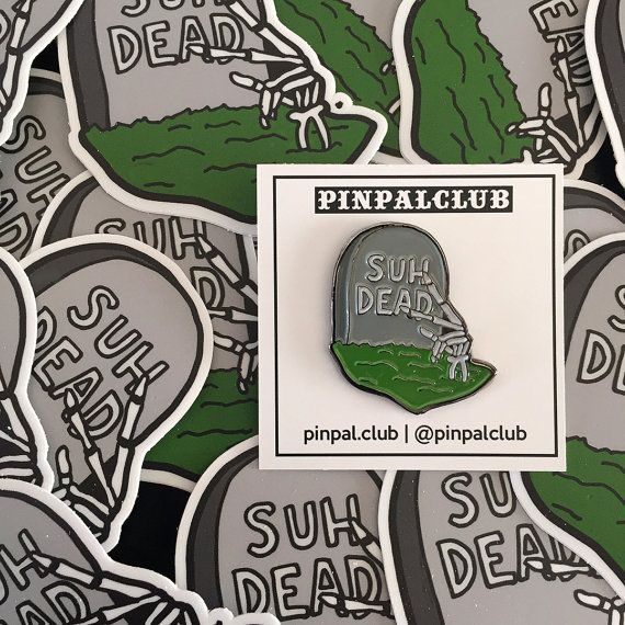 SUH DEAD Soft Enamel Lapel Pin and Sticker Combo