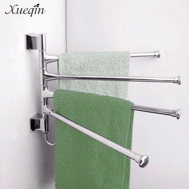Wall Mounted Bathroom Towel Rack Swivel 3 Lyer Clothes Storage Holder Shelf Stainless Steel