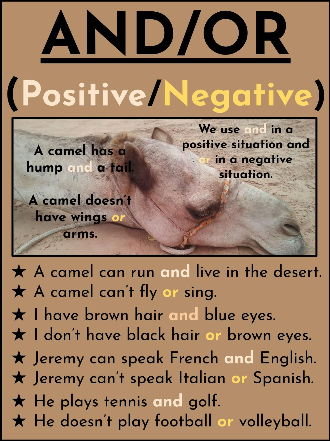 Tesol Grammar Slide To Help Leaners With Basics Of Positive And Negative Conjunctions Great In 2020 English Language Learning Learning Languages Learn English Grammar