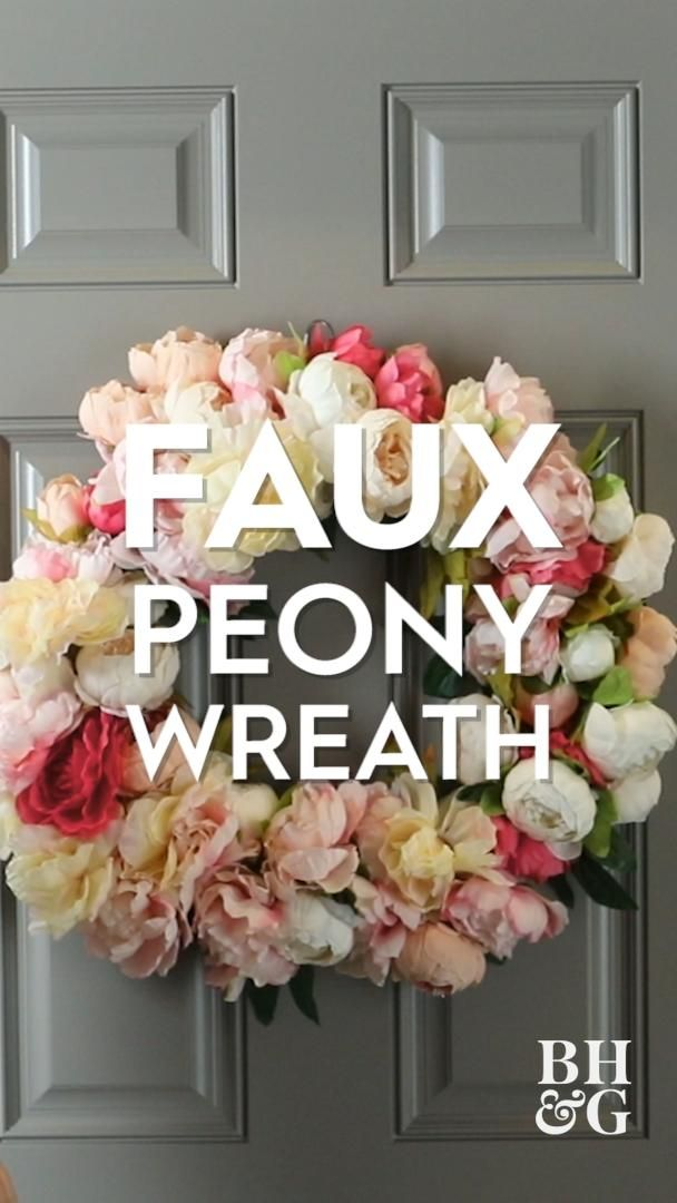 Whether you're looking to add a pretty door decoration or brighten up the interior of your home, this DIY faux peony floral wreath adds an effortless-looking pastel vibrance that lasts. We'll show you how to use faux peony bunches, ribbon, and a wire wreath form to create a wreath you'll want to put up year after year. #wreath #frontdoor #diy #peony #curbappeal #bhg