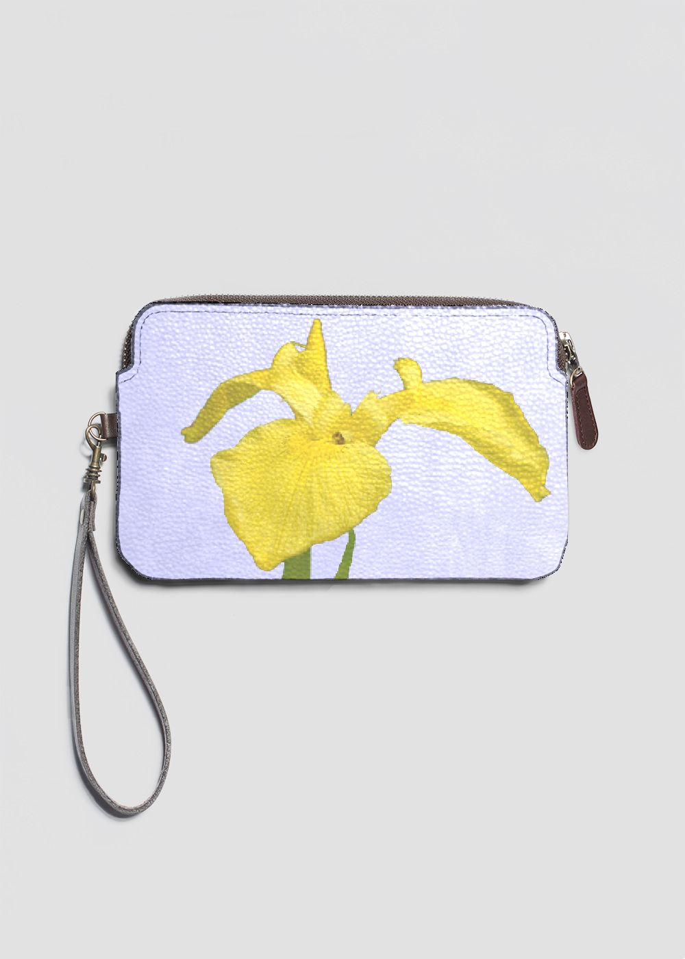 ed5af2180114 Yellow Iris Leather Clutch Bag. Accent your outfit with our chic custom  printed Leather Statement Clutch featuring a top zip closure and removable  wristlet ...