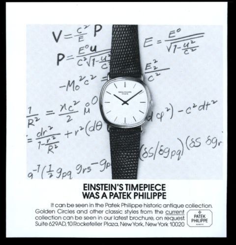 1981 Patek Philippe watch Albert Einstein theme vintage print ad. #patek #patekphilippe #einstein #alberteinstein #math #watch #ads #vintage #watches #stawc