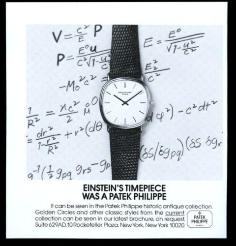 1981 Patek Philippe watch Albert Einstein theme vintage print ad. #patek #patekphilippe #einstein #alberteinstein #math #watch #ads #vintage #watches #stawc
