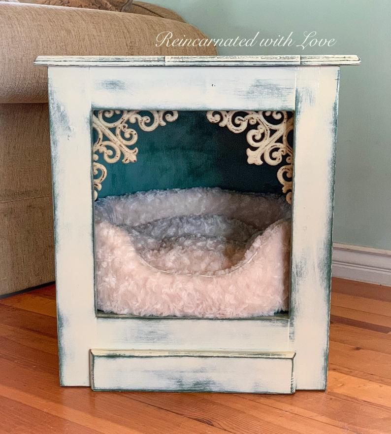 Shabby Chic Pet Bed Nightstand Dog Bed Cat Bed Farmhouse End Table Upcycled Furniture Side Table Dog House Cat Cave Cat House In 2020 Pet Bed Dog Beds For Small Dogs