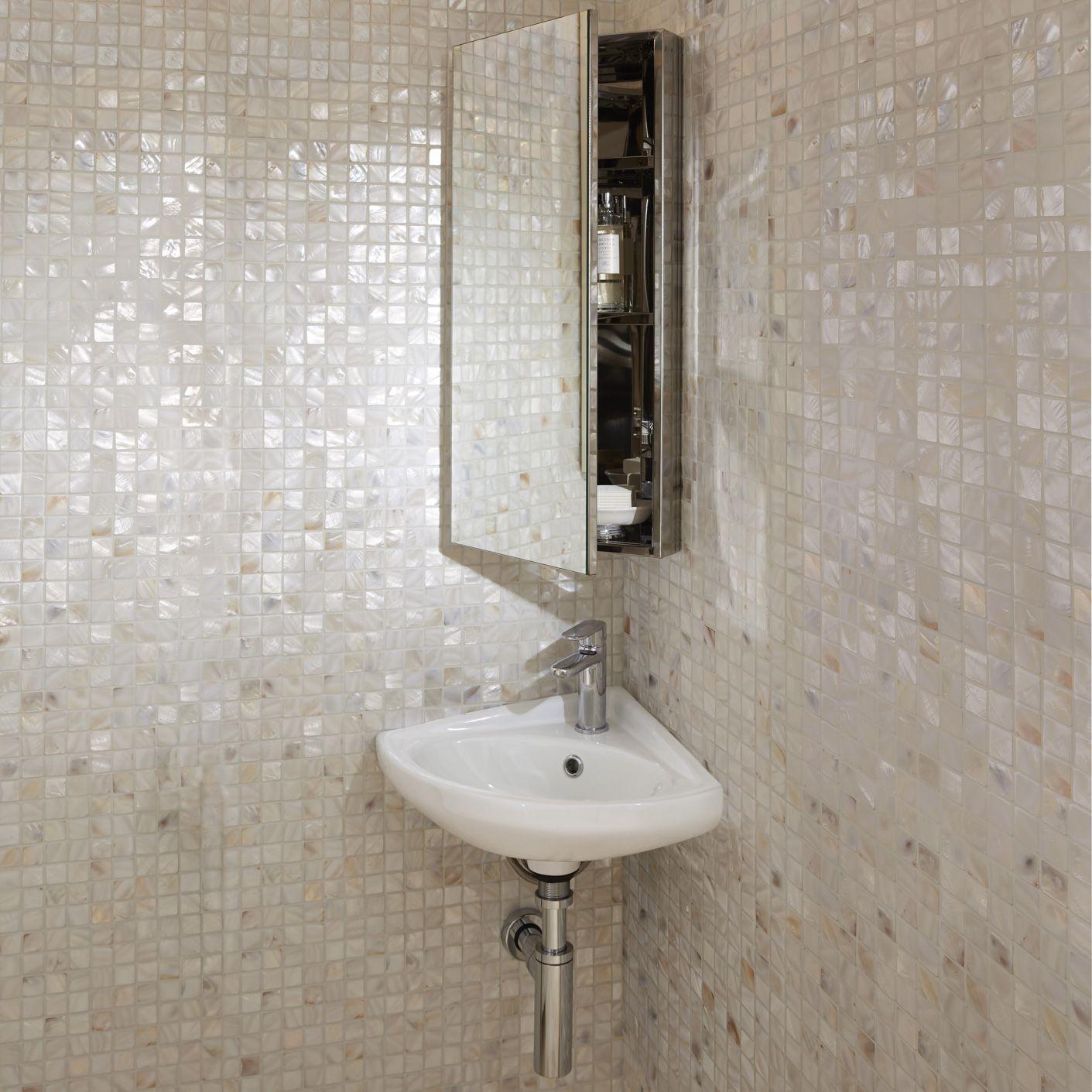 Alpine Duo Corner Mirror Wall Cabinet Gloss White Bath