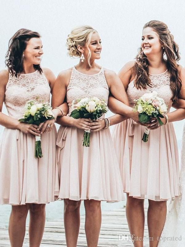 Light Pink Short Bridesmaid Dresses Vintage Lace Jewel Neck Sleeveless Knee Length Chiffon 2017 Summer Beach Maid Of Honor Dress Party Gowns