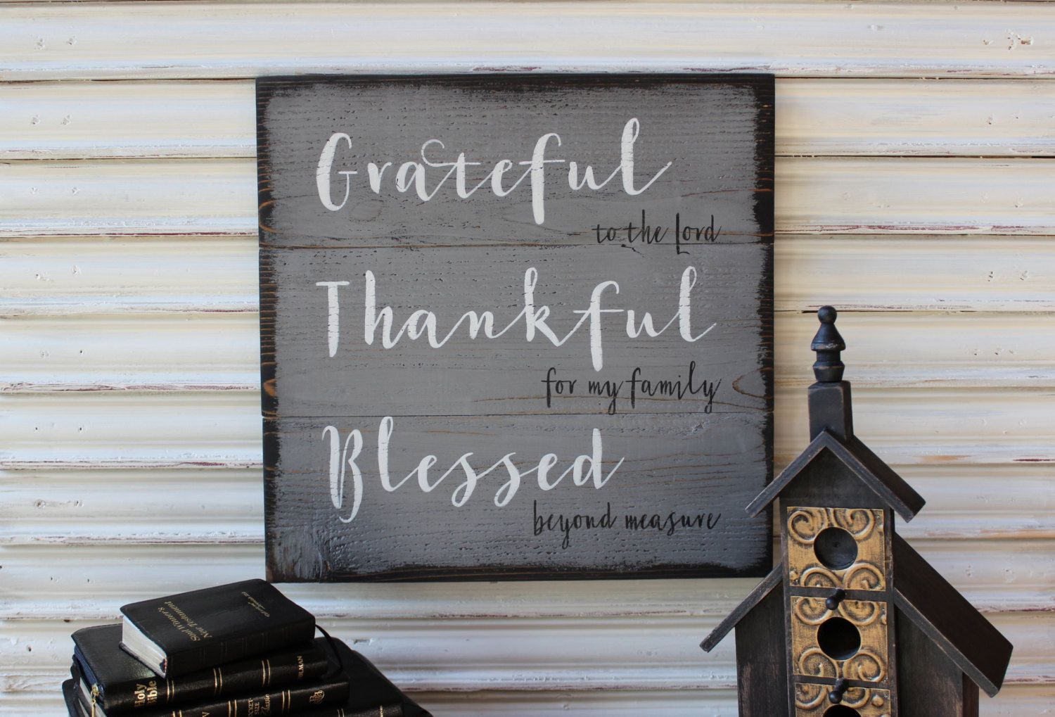 Inspirational Wood Sign, Grateful Thankful Blessed Sign, Gray Wood Sign, Inspirational Religious Sign, Rustic Primitive Sign, Shabby Chic by TinSheepShop on Etsy