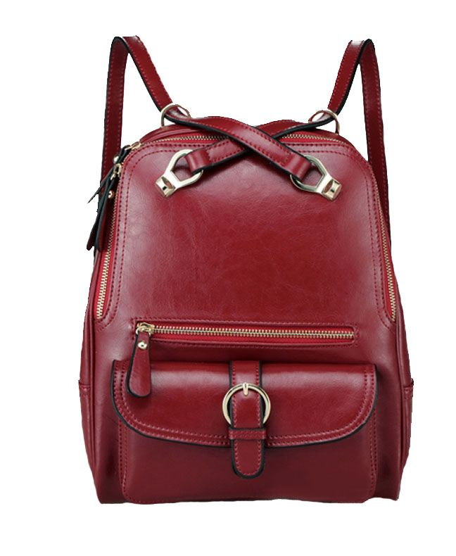 Retro Preppy PU Leather Backpack