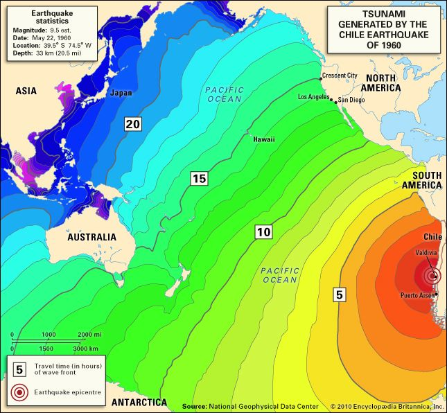 Map showing the extent of the tsunami generated by the chile map showing the extent of the tsunami generated by the chile earthquake of 1960 gumiabroncs Images
