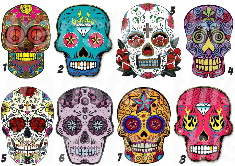 Mexican sugar skull sticker autocollant ou transfert textile vetement t shirt 2