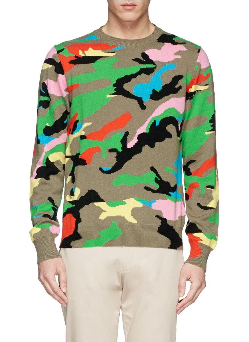 VALENTINO - Camouflage cashmere sweater   Multi-colour Crew Neck Knitwear   Menswear   Lane Crawford