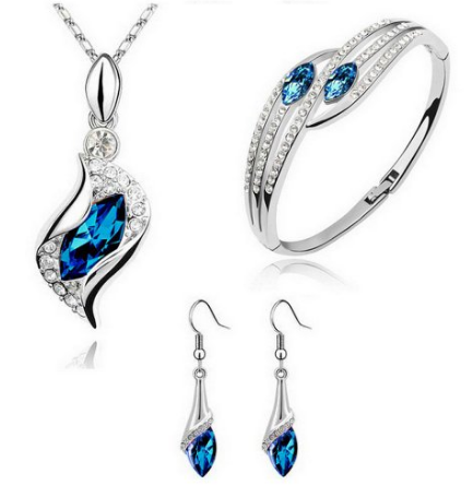 Blue Necklace & Earring & Bracelets $4.60 Shipped! - http://couponingforfreebies.com/blue-necklace-earring-bracelets-4-60-shipped/
