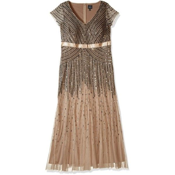 15fe8d08441 Adrianna Papell Women s Plus Size Floor Length Beaded Cap Sleeve...  (3.915.405 IDR) ❤ liked on Polyvore featuring dresses