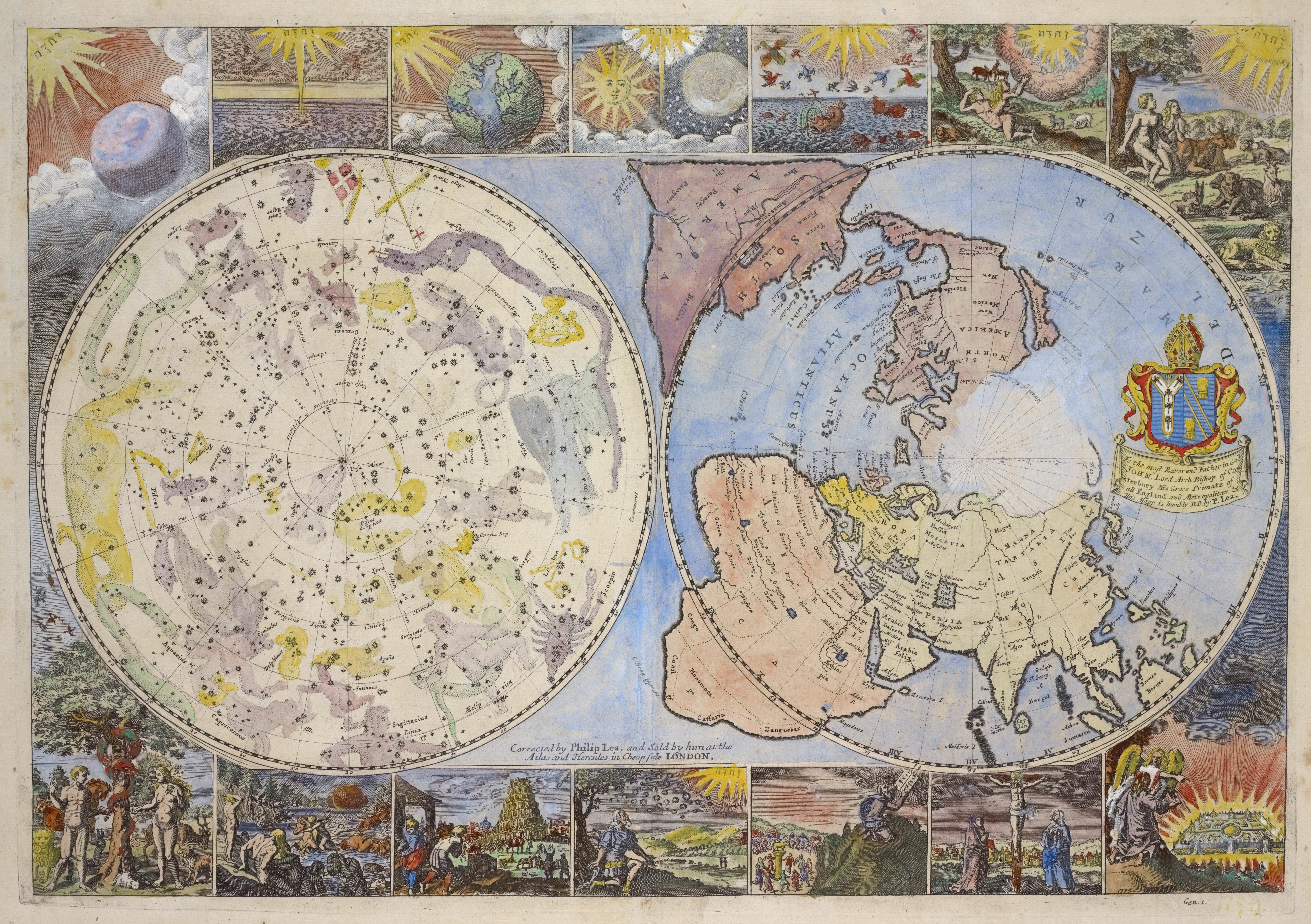1699 map of the heavens and the