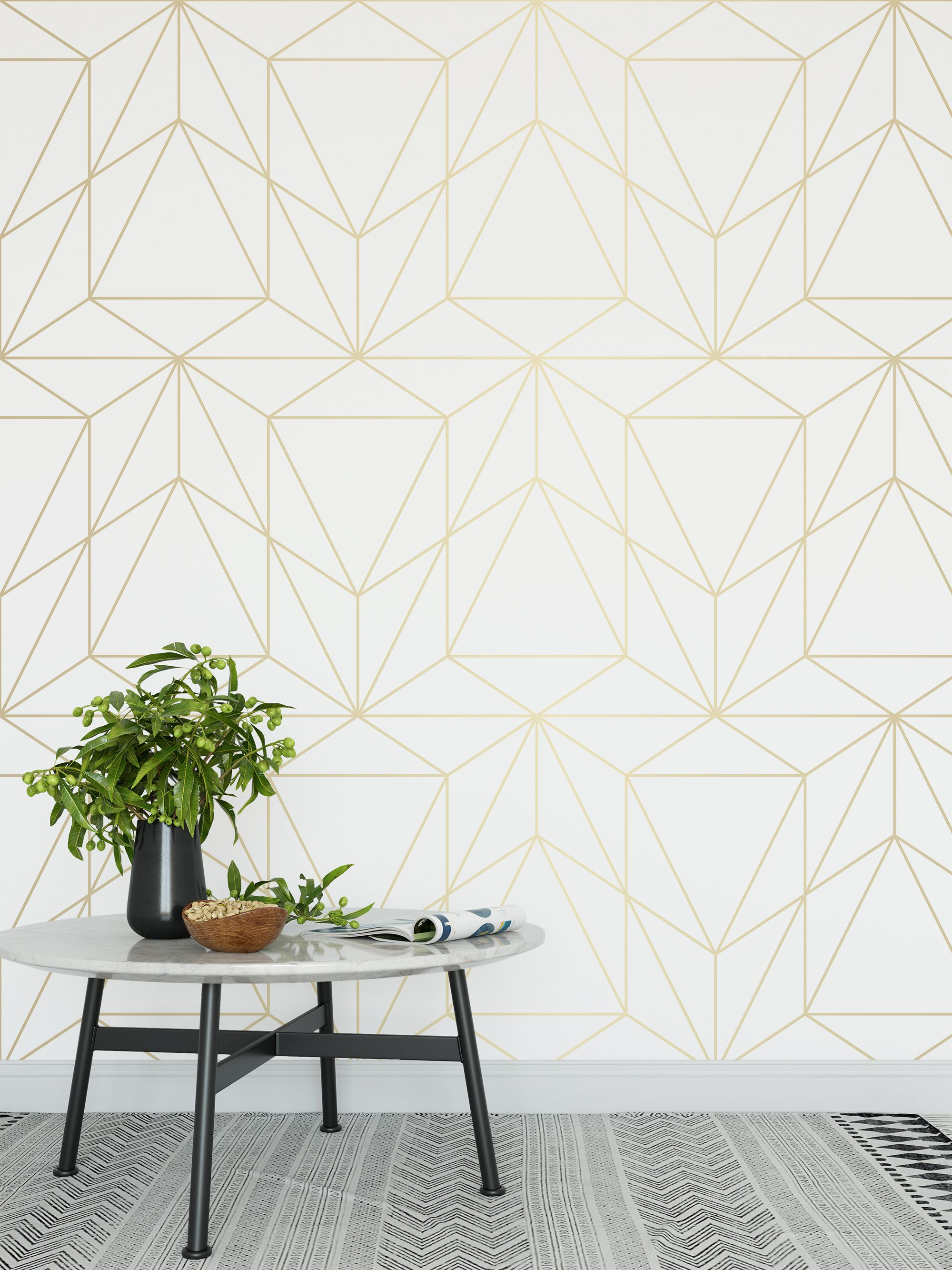 Peel And Stick Wallpaper Self Adhesive Wallpaper Removable Etsy In 2021 Gold Geometric Wallpaper White And Gold Wallpaper Geometric Wallpaper