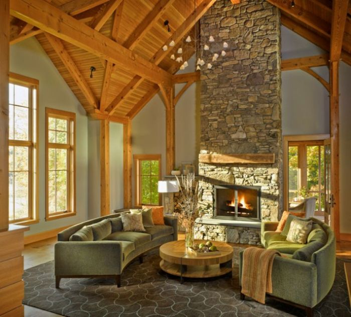 1001 ideas como decorar un salon en estilo r stico pinterest chimeneas de piedra salones - Decorar salones rusticos ...