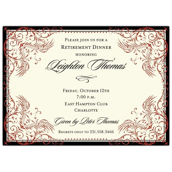 Black And Red Elegant Border Retirement Invitations. We Offer Custom  Invitations And Stationery From Top Designers, Fast Service And A  Satisfaction ...