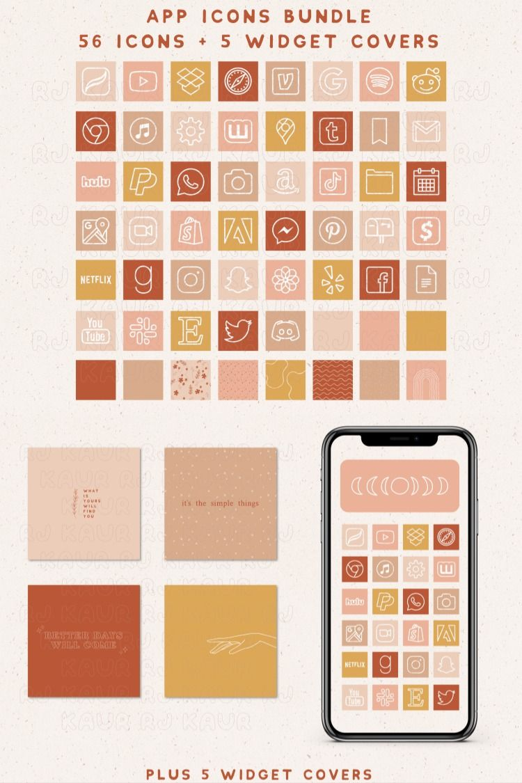 56 iOS App Icons + 5 Widget Covers Apple App Icons