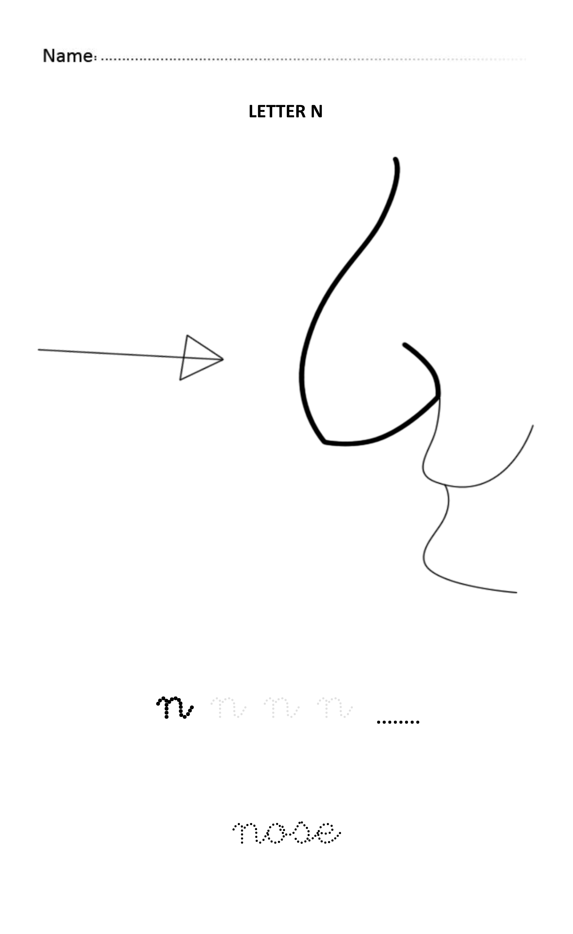 Letter N Easy And Visual Colouring Worksheet For Early