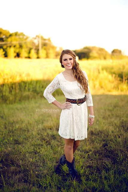 Southern senior in cream lace dress and cowboy boots!! Nashville ...
