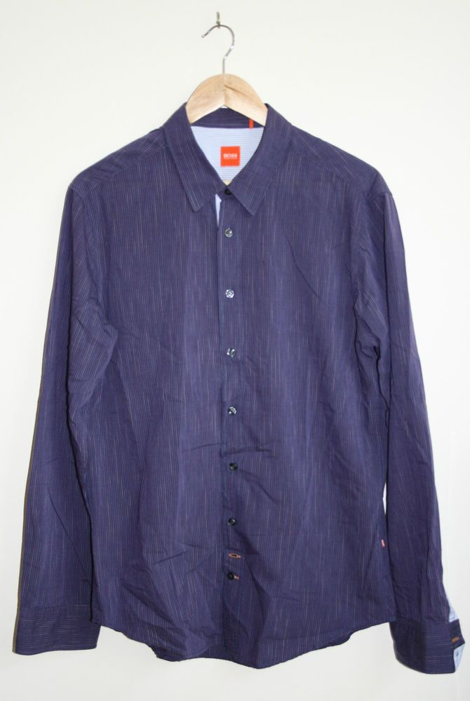 Vintage Style Original Hugo Boss Mens Long Sleeve Shirt Size L 100% Cotton  Navy